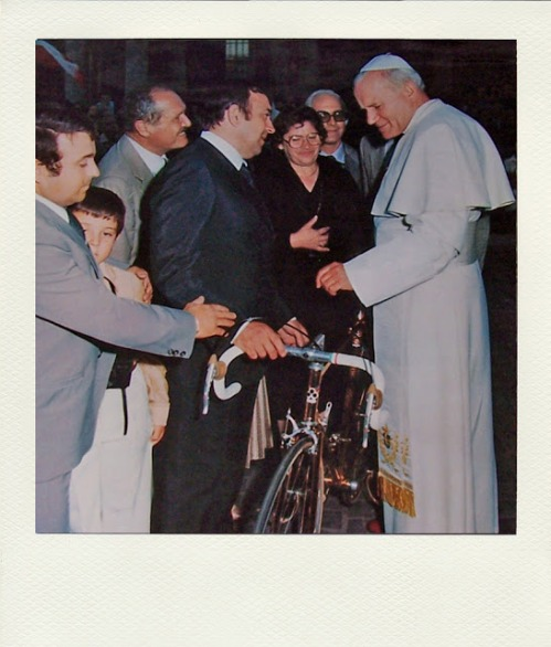 Pope with Colnago Bike